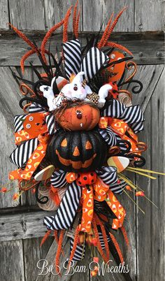 Halloween Mesh Wreath Ghost Wreath Halloween Wreath