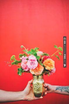gold mason jar floral arrangement. Let's make these ... ok? | CHECK OUT MORE IDEAS AT WEDDINGPINS.NET | #wedding