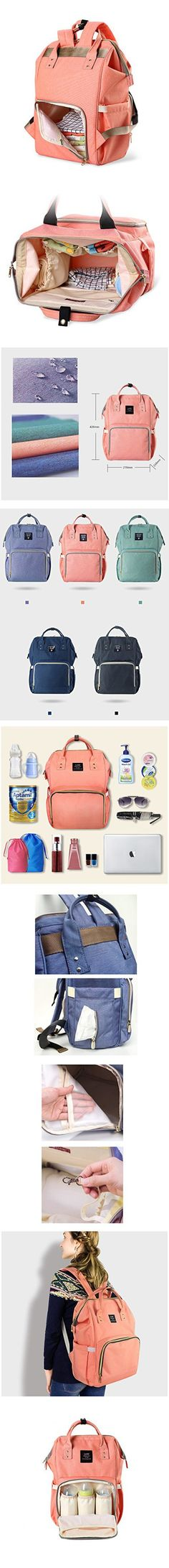 Huluwa Diaper Bag Multi-Function Waterproof Travel Backpack Nappy Bags for Baby Care, Large Capacity, Stylish and Durable, Orange