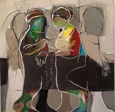 Mona Nahleh 'Rendezvous' 100x100cm
