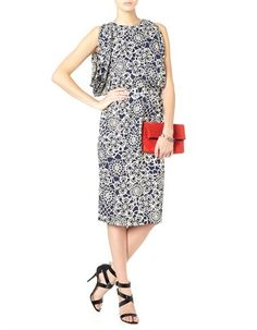 Navy Floral Side Draped Dress Thakoon