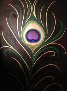 Metallic Peacock Feather- Acrylic Painting