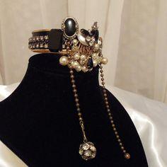 Unique Statement Bracelet, Black Onyx Rhinestone Bangle.  Vintage upcycle gemstone bracelet.