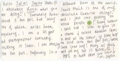 Quirky Penpal Ad - Jayna in the U.S.