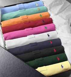 Polo shirt rainbow. I'd wear these to golf. (One at a time, of course.)