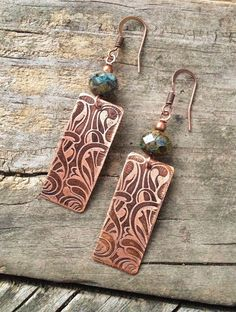 Copper Earrings / Autumn Earrings/ Copper and Blue Earrings / Copper Jewelry