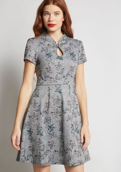 modcloth -- High Society Style Short Sleeve Dress in Houndstooth Floral Western Dresses For Women, Frock For Women, Frock Design, Knee Length Dresses, Short Sleeve Dresses, Dresses With Sleeves, Unique Dresses, Dresses For Work, A Line Dress Work