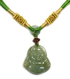 Elegant Life in Joy Happy Buddha Chinese Jadeite Jade Pendant Necklace, - Fortune Beauty Jade Collection