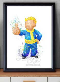 Fallout 4 Vault Boy Watercolor Art Poster Print by GenefyPrints