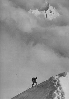 Black & white Everest climbing