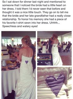 So I sat down for dinner last night and mentioned to someone that I noticed the bride had a little heart on her dress. I told them I'd never seen that. Groom Wedding Pictures, Funny Wedding Photos, Wedding Groom, Wedding Pics, Wedding Dresses, Wedding Stuff, Wedding Attire, Rustic Wedding, Aqua Wedding