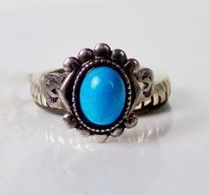 Old Sterling Silver Turquoise Ring Vintage by LittleBittreasures