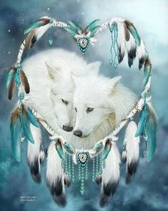 Never underestimate the Tenderness Affection Loyalty Love Beating within the Heart Of A Wolf. Heart Of A Wolf prose. This artwork of white wolf mates within a heart-shaped dream catcher is from the Dream Catcher Collection Beautiful Creatures, Animals Beautiful, Cute Animals, Native Art, Native American Art, Wolf Mates, Wolf Love, Wolf Pictures, Beautiful Wolves