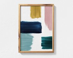 Excited to share this item from my shop: Abstract Painting Featuring Teal, Mustard, Navy Blue and Blush Pink Brush Strokes, Contemporary Printable Wall Art, Teal Decor Abstract Art Diy Wall Art, Diy Art, Teal Wall Art, Grand Art Mural, Contemporary Wall Art, Extra Large Wall Art, Abstract Wall Art, Blue Abstract, Wabi Sabi