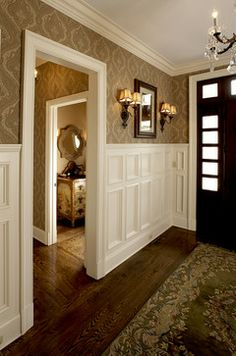 Wainscot and wallpaper...love the look!...jw Upstate Country estate traditional entry
