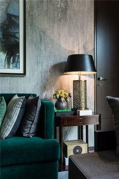 Green velvet couch, detail