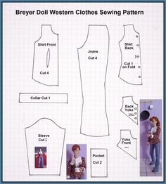 Imagenes de moldes de ropa para barbies Diy Clothes Patterns, Barbie Sewing Patterns, Doll Patterns, Barbie Et Ken, Barbie Dolls, Homemade Dolls, Diy Barbie Clothes, Doll Wardrobe, Western Outfits
