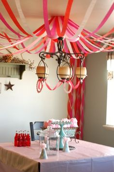 Cool canopy with streamers, would be great with lots of colors for a graduation party!