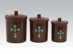HiEnd Accents Western Turquoise Cross canister set with a detailed raised relief of a turquoise western cross on the chocolate brown canisters for your Western kitchen storage. Matching western dinnerware & accessories available. Ceramic Canister Set, Kitchen Canister Sets, Kitchen Sets, Kitchen Stuff, Kitchen Ware, Kitchen Things, Kitchen Towels, Kitchen Gadgets, Western Kitchen Decor