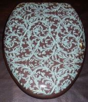 BathBeautiful.com New Padded Toilet Seat Pattern from our Designer Cloud Soft Brand: Aqua and Brown Trellis Pattern.