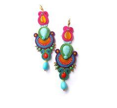 Long Colorful Dangle Drop Earrings Bollywood by GiSoutacheJewelry