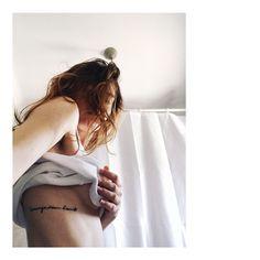 Courage dear heart , minimalist phrase tattoo on ribs