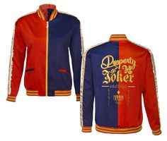 This blue and red satin bomber jacket is a replica of Harley's from the movie Suicide Squad. Even if you don't own hot pants, it's cute…