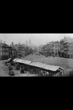 Old Market Square Nottingham UK. One of the earliest photos of it ever known from 1880s