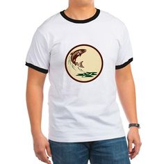 Atlantic Salmon Fish Jumping Water Retro T-Shirt