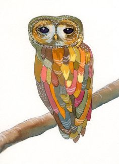 Watercolor Owl Painting Colorful Owl art print by courtneyoquist