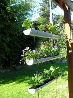 Hanging gardens planted in a recycled gutter. Follow the link for directions.
