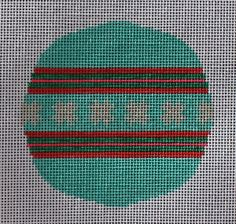 Little Bird Designs RO-004 Teal and Pink with Stars in Center #modernneedlepoint