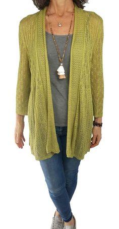03cd461b39075 ZoZo L Large Nic + Zoe green mesh knit open front cardigan knit topper  linen bld
