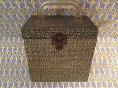 Vintage 1960s record storage box 45 Platter Pak speckled Green lp vinyl carrier case tote