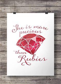 Printable art | Proverbs 31 - More than Rubies Printable wall art - A3 / A4 Instant download digital print