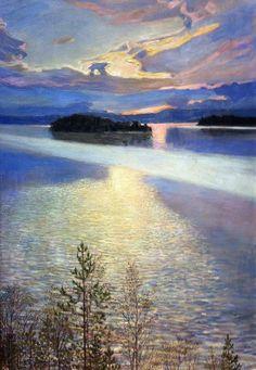 """LAKE VIEW"" Artist: Akseli Gallen-Kallela (Finland oil on canvas x cmAteneum Art Museum, Helsinki Nordic Art, Scandinavian Art, Landscape Art, Landscape Paintings, Art Moderne, Lake View, Helsinki, Painting & Drawing, Art Museum"