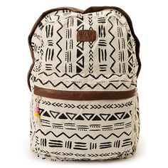 From school to sleep overs to the beach and back again, the Secret Dreamin backpack from Billabong Girls carries all your good with fun surf style. The washed cotton canvas backpack features a large main compartment with padded back and Velcro laptop sleeve. With an all-over black and off-white tribal print, brown faux leather trims, and bead details, the Secret Dreamin Billabong backpack is your P.I.C. from dusk til dawn.