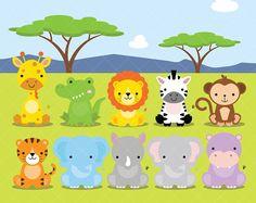 African Animals Clipart, Safari, Zoo (Graphic) by ClipArtisan · Creative Fabrica Baby Wild Animals, Safari Animals, Cute Baby Animals, Woodland Animals, Baby Zoo, Zoo Clipart, Hyena, African Animals, African Safari