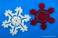 Crocheted Snowflakes. Find free tutorial here.