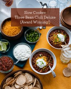 Slow Cooker Recipe: Three Bean Chili Deluxe. This recipe has won chili-cookoffs all over the country!   |   Design Mom