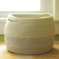 This lovely basket is made out of 200 feet of cotton cord and a few spools of thread.
