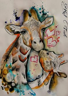 Mama giraffe has a big heart heart for her babe💕! Animal Drawings, Cute Drawings, Animals Beautiful, Cute Animals, Giraffe Pictures, Arte Fashion, Giraffe Art, Arm Tattoo, Watercolor Art
