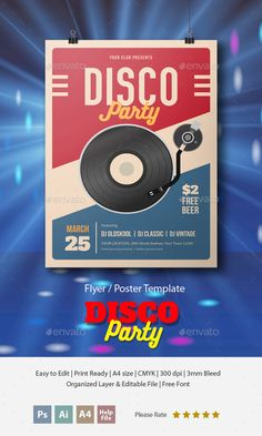 Retro Disco Party Flyer Template PSD, AI Illustrator. Download here: http://graphicriver.net/item/retro-disco-party-flyer-/16885452?ref=ksioks