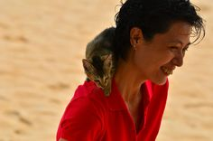 Woman with Shoulder Kitty (OC) at Cheung Chau beach