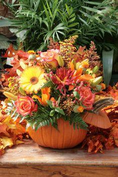 holiday, table decorations, autumn centerpiece, autumn flowers, pumpkin arrang