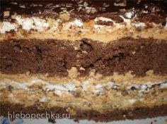 2 brownie layers, 2 cheesecake layers, 2 chocolate chip cookie layers, graham crackers, marshmallow frosting and chocolate frosting. Russian Cakes, Russian Desserts, Russian Recipes, Baking Recipes, Cake Recipes, Smores Cake, Torte Cake, Easy Cake Decorating, Cake Business