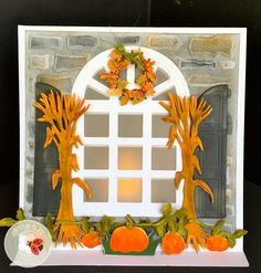 Susan Tierney-Cockburn of Susan's Garden Club found a way to illuminate CountryScapes - Carolina Window & Shutters in this great autumn card! She accented the scene with CountryScapes: New England Stonewall & Gate, and Flora 4. Find the supplies here: http://www.elizabethcraftdesigns.com/