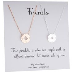 Amazon.com: My Very Best Dainty Rose Gold Plated & Silver Plated Set of 2 Compass Necklace: Jewelry