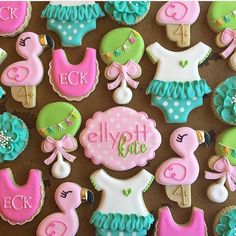 The absolute cutest!!!!! @cadiescookies created the cutest, girliest set using our onesie, rattle and flamingo cutters!! This adorable flamingo design was illustrated by @sugarbelle.sweets for our shop!!! We love us some Dusty!