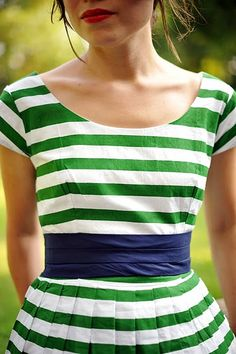 Green and White Striped and Navy Dress